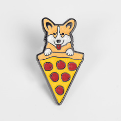 Man's Best Food - Enamel Dog Pin in Yellow