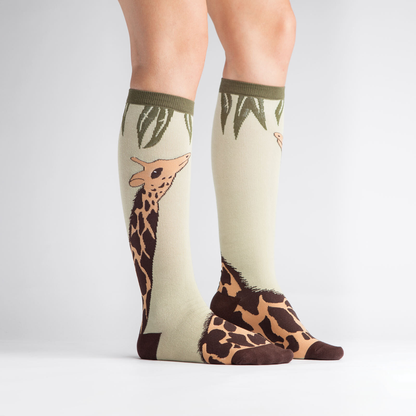 model side view of Giraffe Knee High Socks Brown and Green - Women's