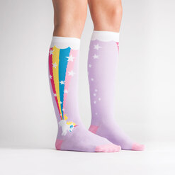 model side view of Rainbow Blast - Unicorn Knee High Socks - Women's