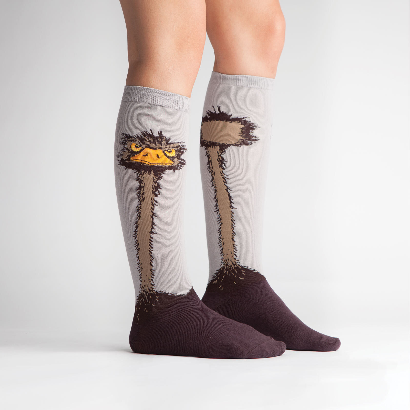 model side view of Ostrich Knee High Socks Grey - Women's
