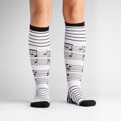 model wearing Footnotes - Music Knee High Socks - Women's