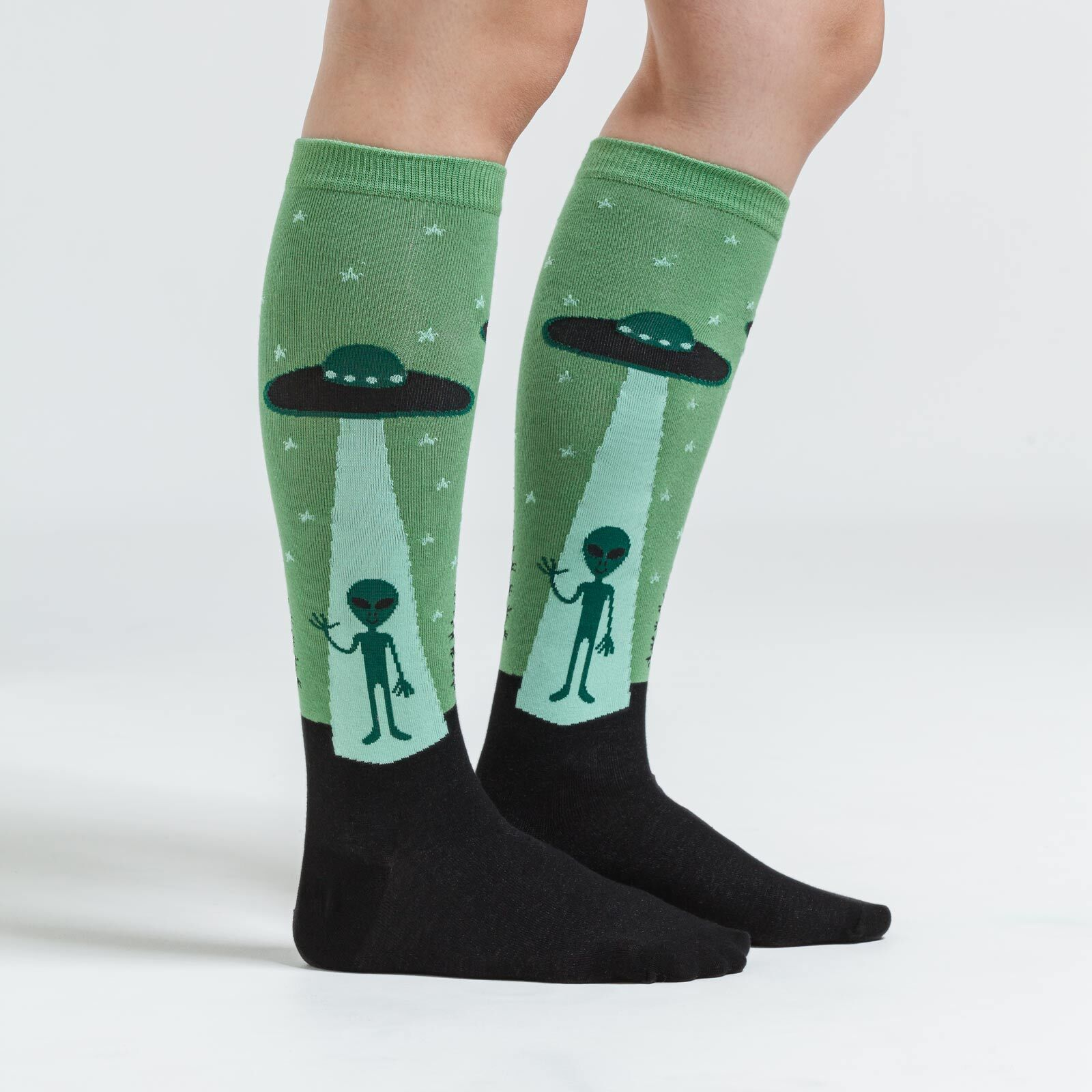 model side view of I Believe - Alien Knee High Socks Green - Women's
