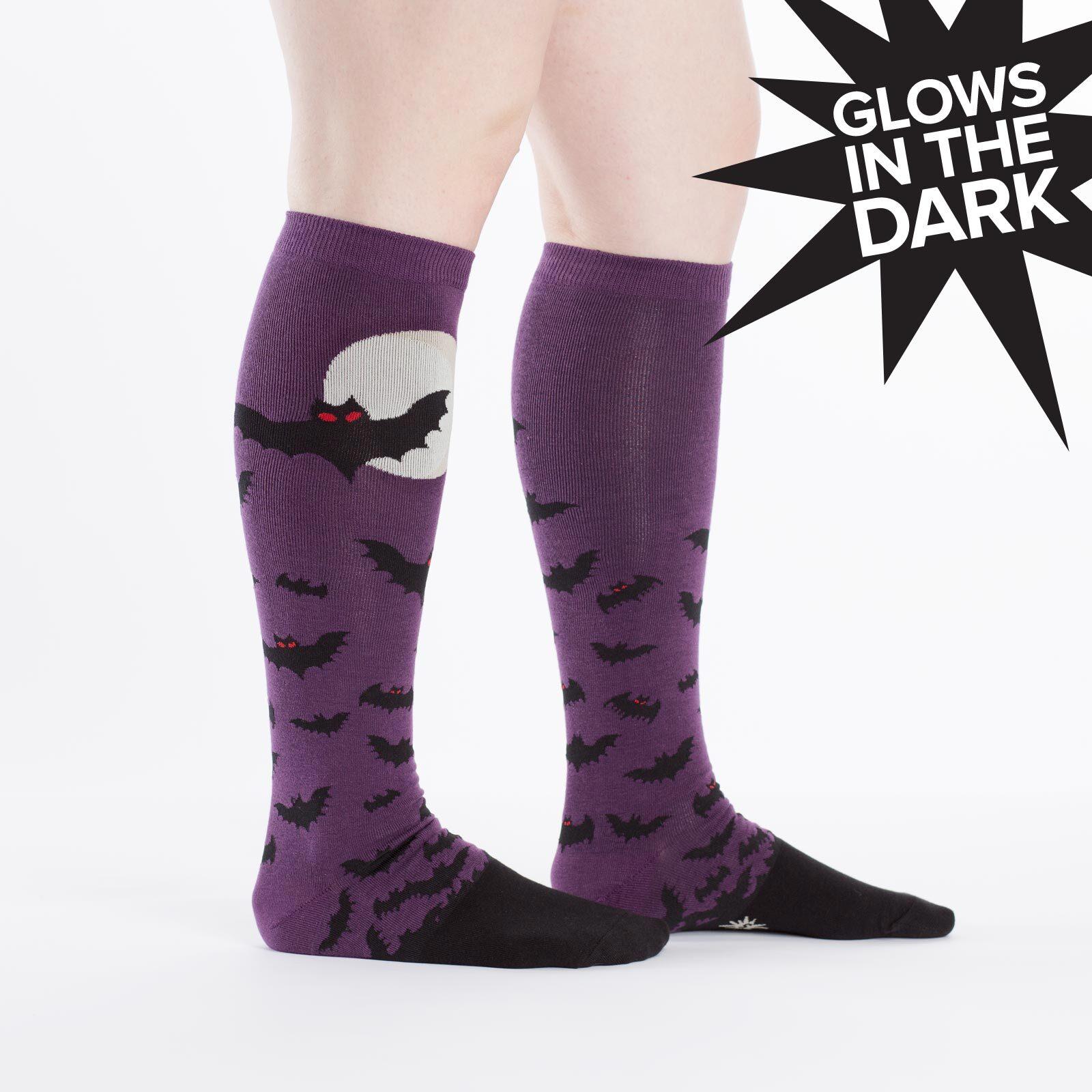 model wearing Batnado - Halloween Bat Knee Socks Purple - Women's
