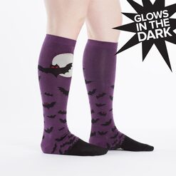 model wearing Batnado - Halloween Bat Knee Socks Purple - Women's