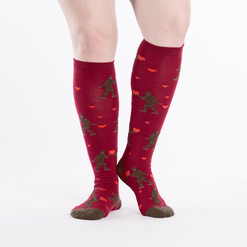 model wearing Sasquatch Valentine Knee High Socks Red - Women's