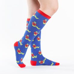 model side view of Bookworm Knee High Socks Blue - Women's