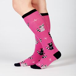 model side view of Nocturnal Ninja - Raccoon Knee High Socks - Women's