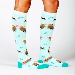 model side view of My Otter Half - Otter Knee High Socks Blue - Women's