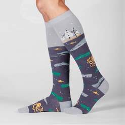 model side view of Sea Voyage - Nautical Knee High Socks Blue - Women's