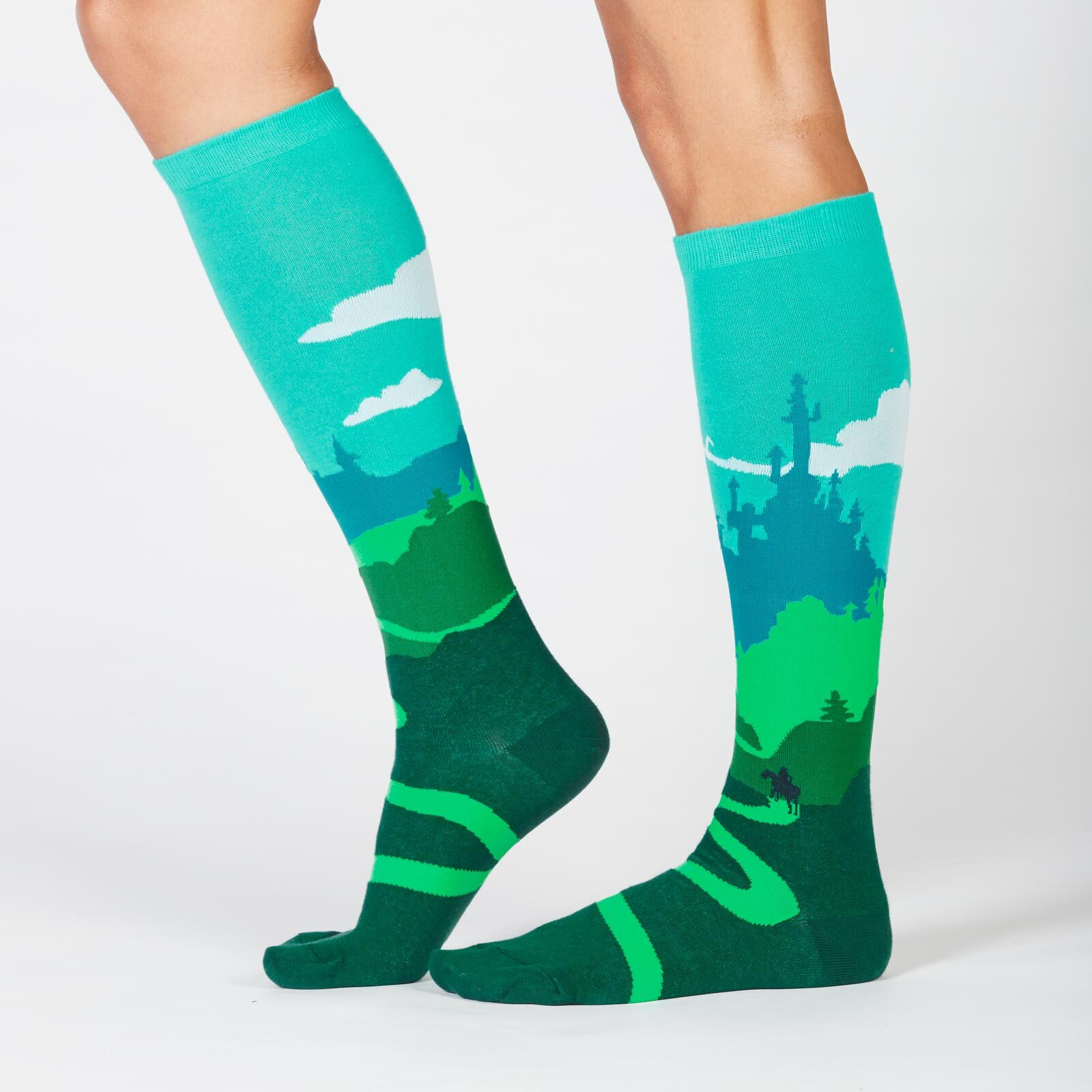 model side view of Yonder Castle - Fairy tale Knee High Socks Blue and Green - Women's