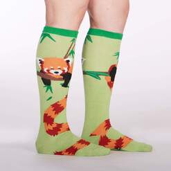 model side view of Tale of The Red Panda Knee High Socks Green - Women's