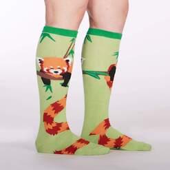 model side view of Tale of The Red Panda Knee High Socks Green - Women's