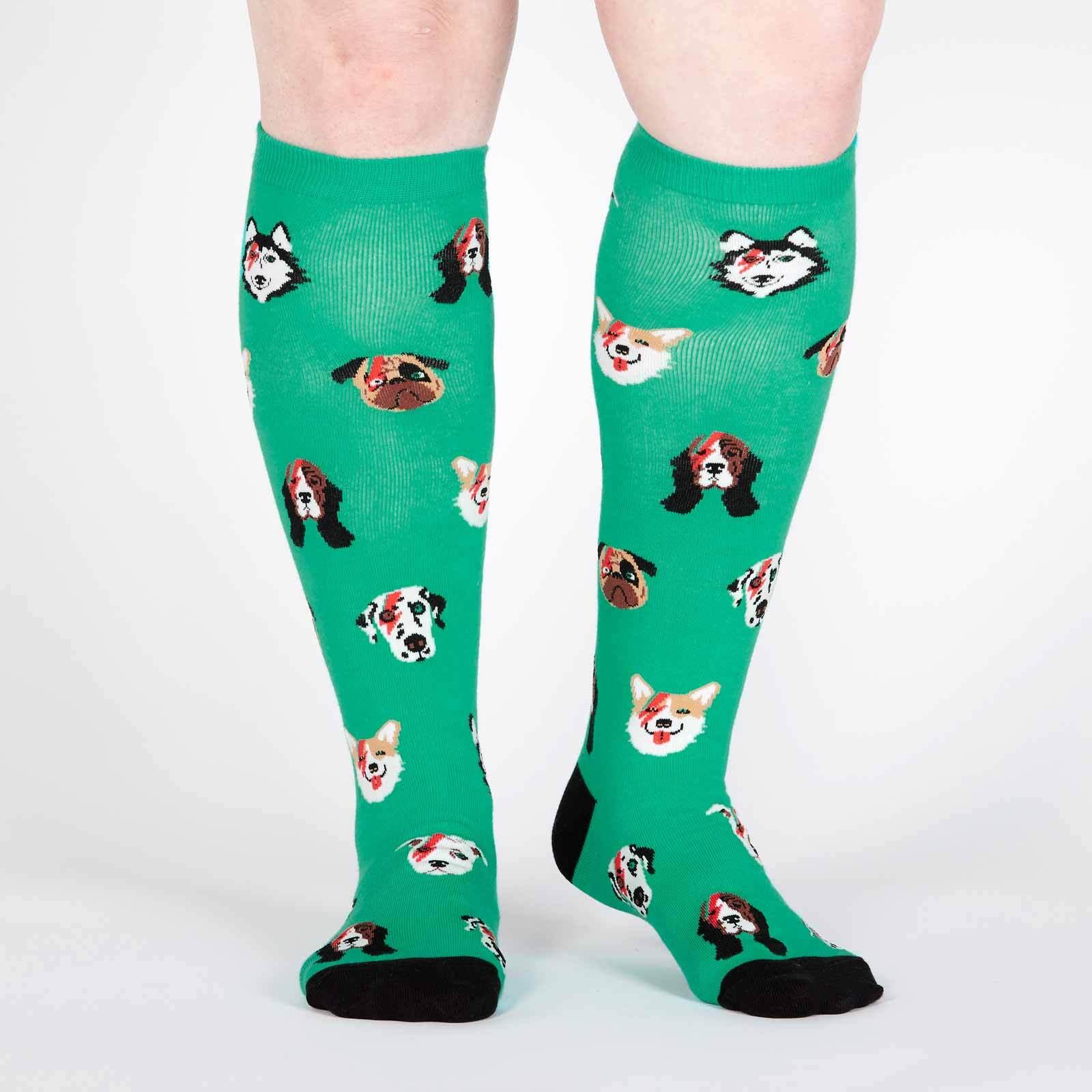 model wearing Dogs of Rock - Dogs Rocking Out Knee High Socks Green - Women's
