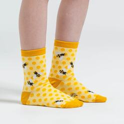 model side view of Bee's Knees - Bee Crew Socks Yellow - Junior
