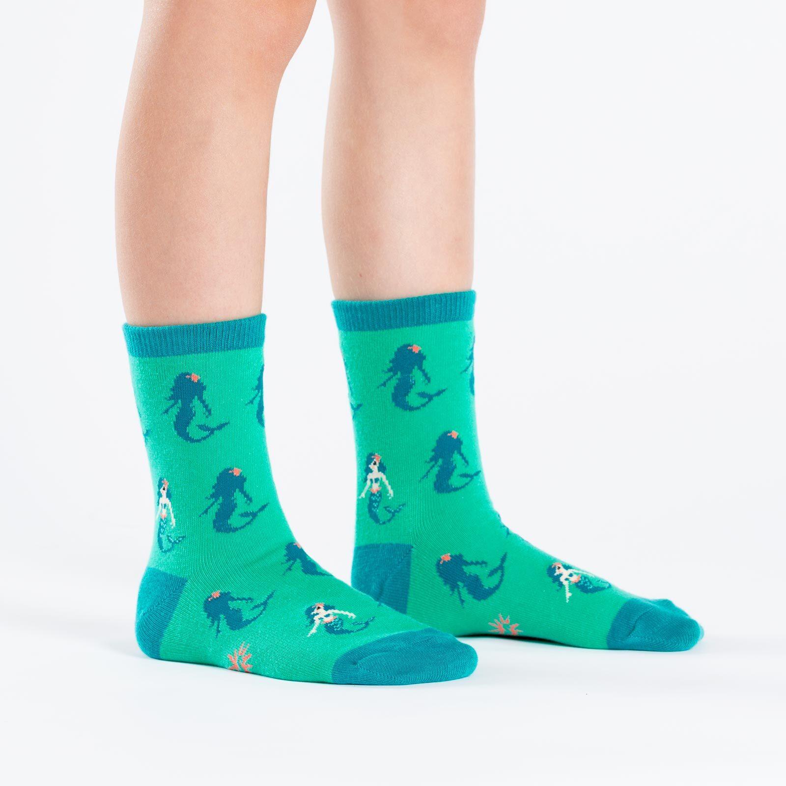 model side view of Princess Of The Sea - Mermaid Crew Socks Teal - Junior