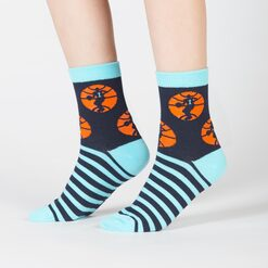 model side view of Nothin' But Net - Basketball Sport Crew Socks - Junior