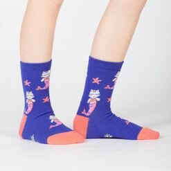 model side view of Purrmaid - Mermaid Cat Crew Socks Turquoise - Junior