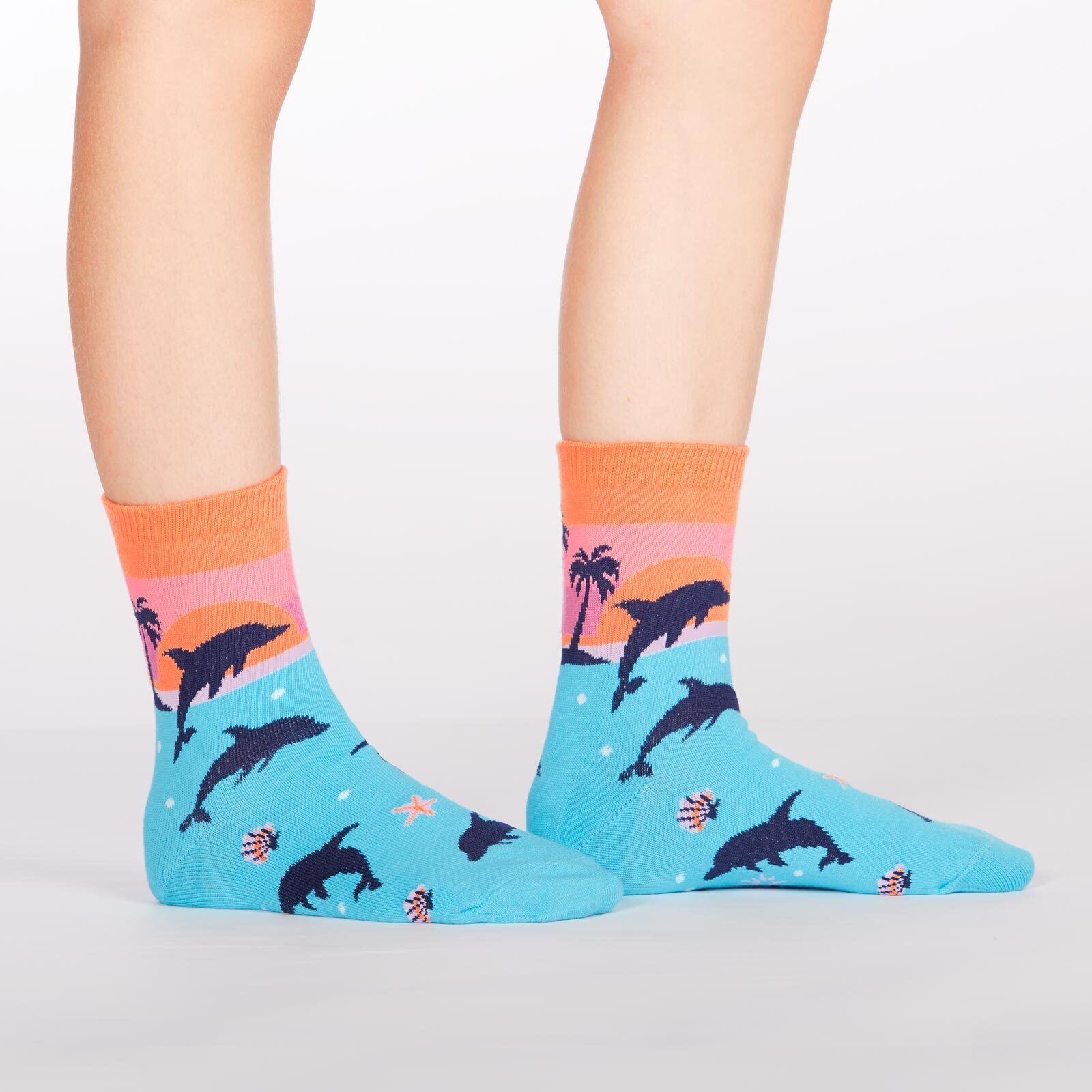 model side view of Dancing Dolphins - Dolphin Crew Socks - Junior