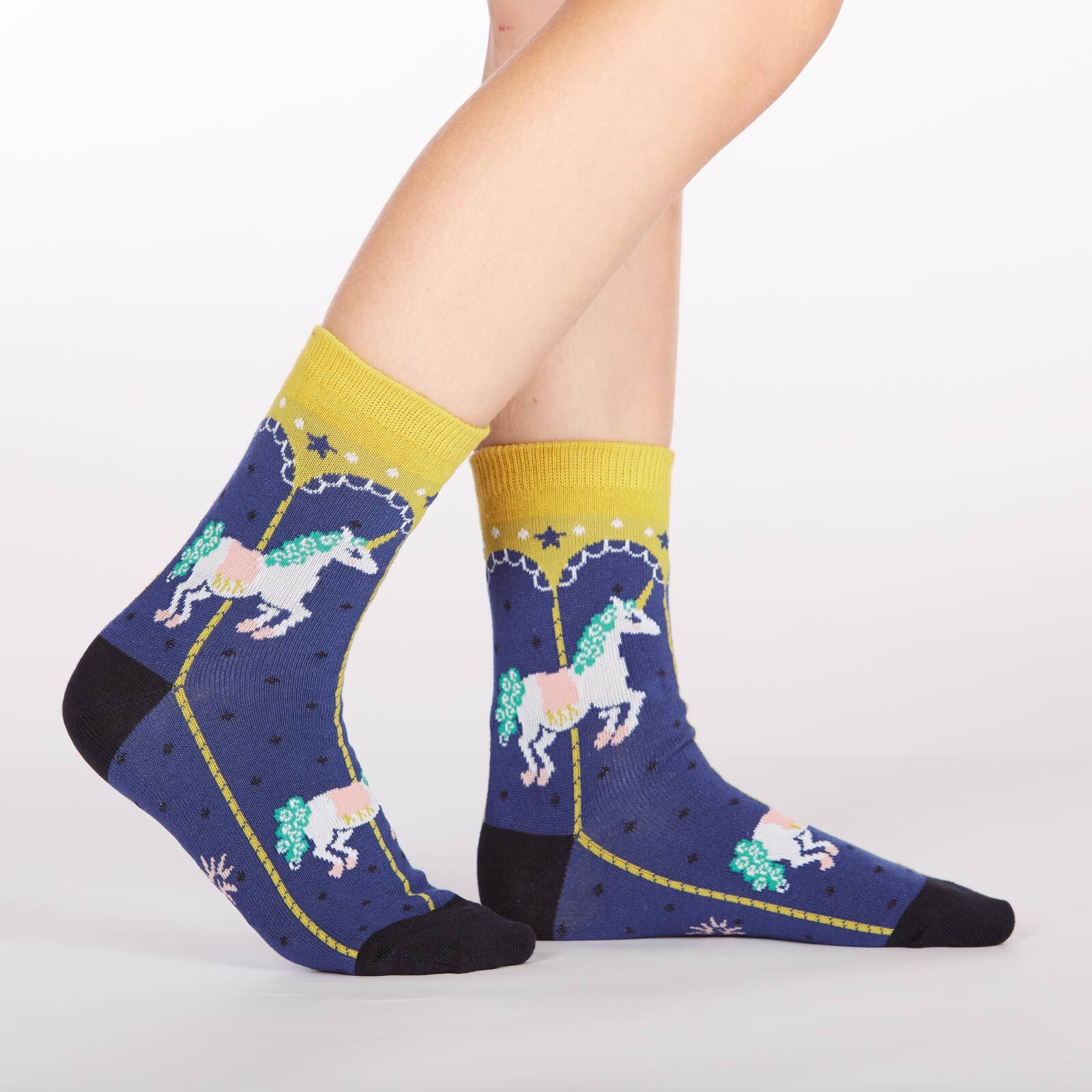 model side view of Carousel Crew Socks Blue and Yellow - Junior