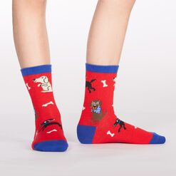 model wearing Kid's Best Friend - Dog Crew Socks - Junior