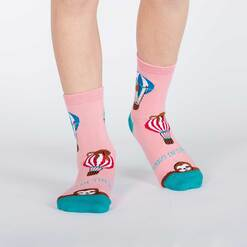 model wearing Hang in There - Sloth Crew Socks Pink - Juniors