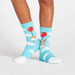model wearing Pup, Pup, and Away - Corgi Dog Crew Socks Blue - Junior