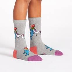 model side view of Great Horns Think Alike - Unicorn Narhwal Crew Socks - Junior