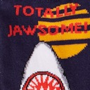 fabric detail of Totally Jawsome! - Great White Shark Crew Socks Blue - Junior's