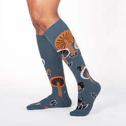 model wearing Woodland Wonderland - Tall Mushroom Nature Knee High Socks Blue - Women's