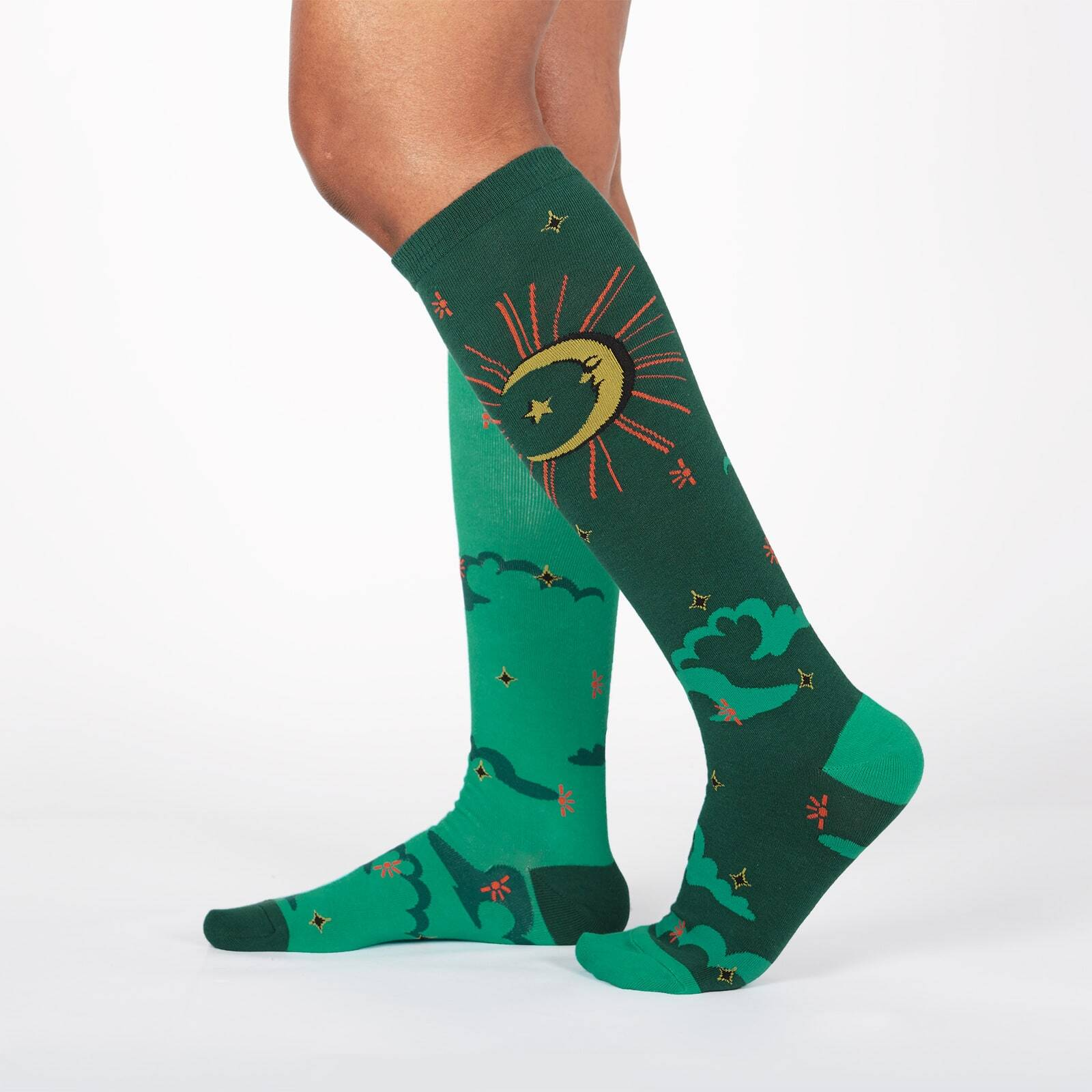 model wearing Sun And Moon - Sparkling Sun and Moon Knee High Socks Green - Women's