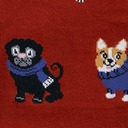 fabric detail of Sweater Weather - Corgis, Pugs, and Frenchies Bundled Up Knee High Socks Red - Women's