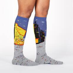 model wearing Café Terrace at Night - Vincent Van Gogh Painting Knee High Socks Blue - Women's