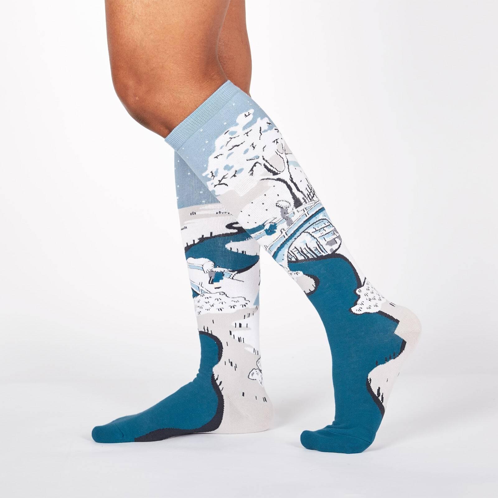 model wearing Meguro Drum Bridge - Utagawa Hiroshige (Ando) Painting Knee High Socks Blue - Women's