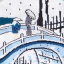 fabric detail of Meguro Drum Bridge - Utagawa Hiroshige (Ando) Painting Knee High Socks Blue - Women's
