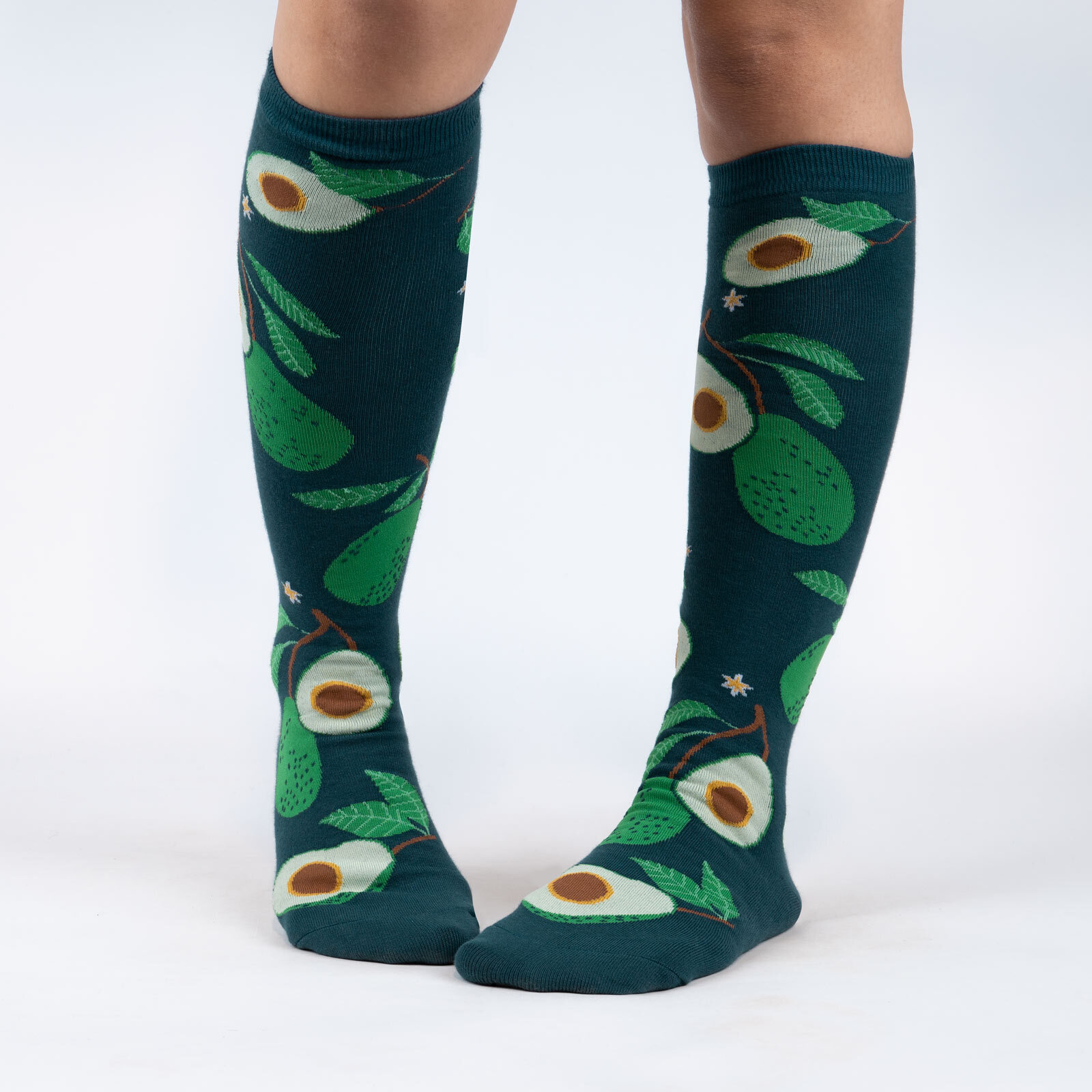 model wearing Avoca-toes - Delicious Avocado Knee High Socks Green - Women's