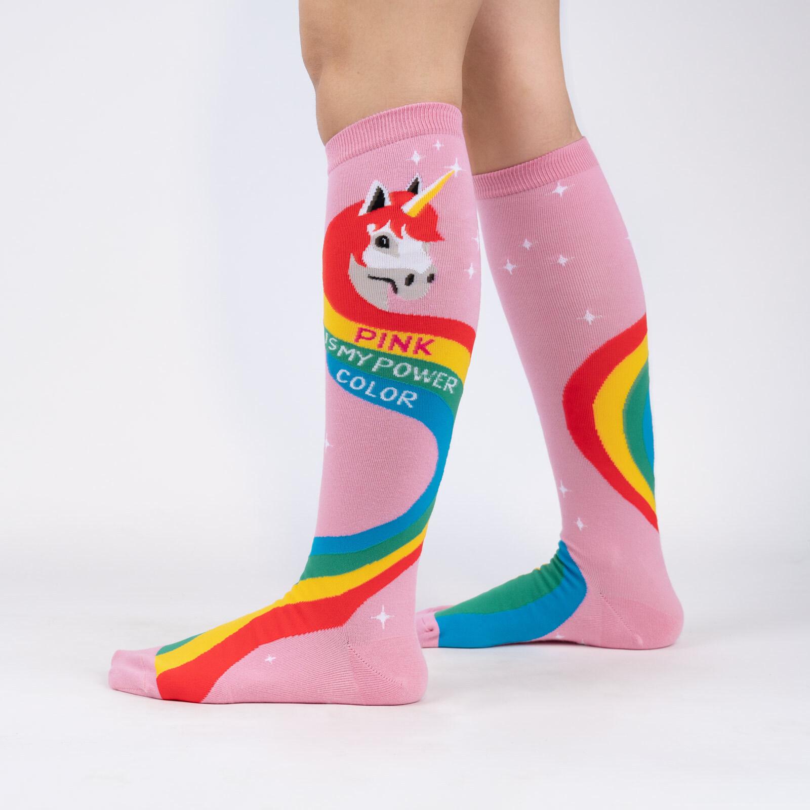 model wearing Rainbow Mane - Unicorn Power Color Knee High Socks Pink - Women's