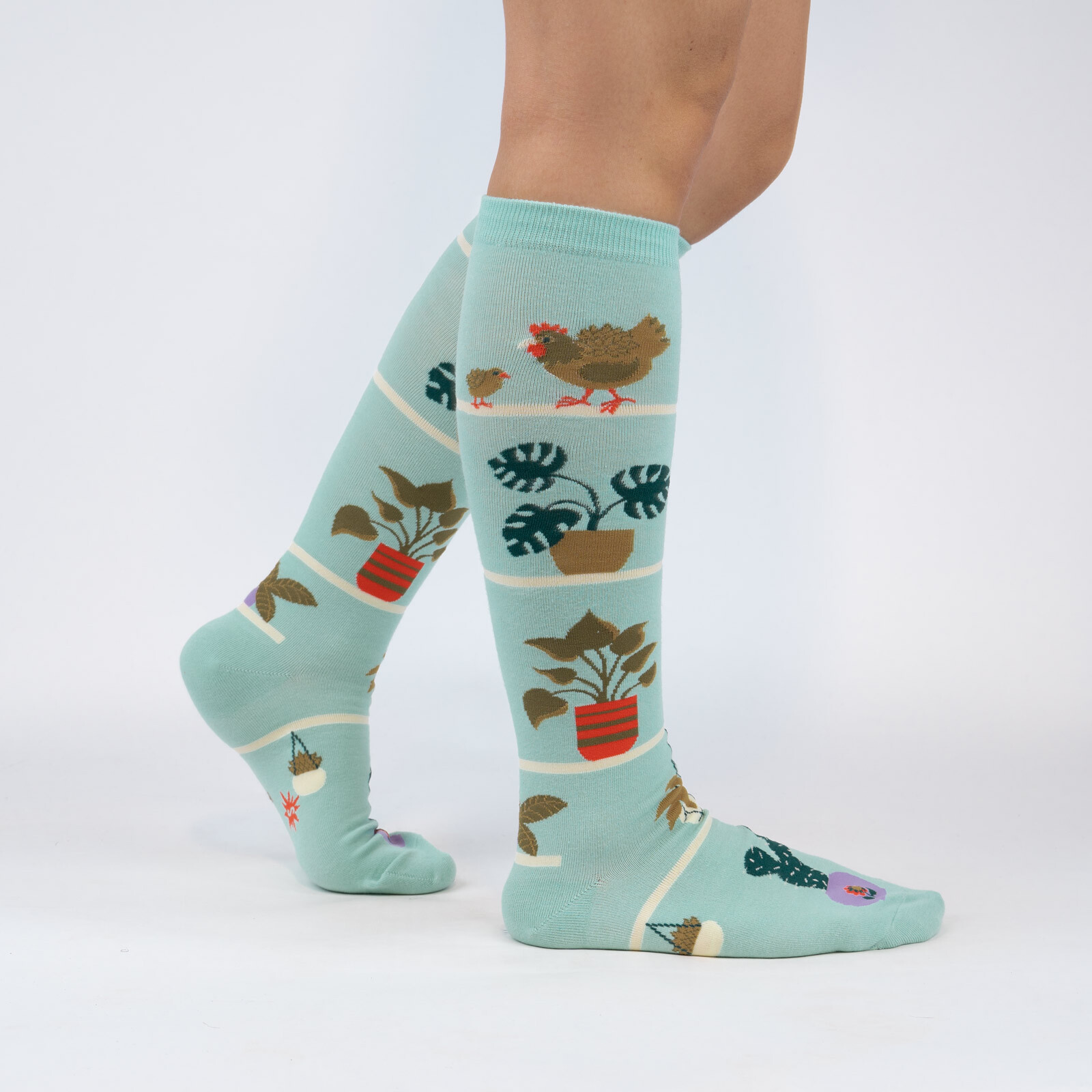 model wearing Hen and Chicks - Plant and Bird Lover Knee High Socks Turquoise - Women's