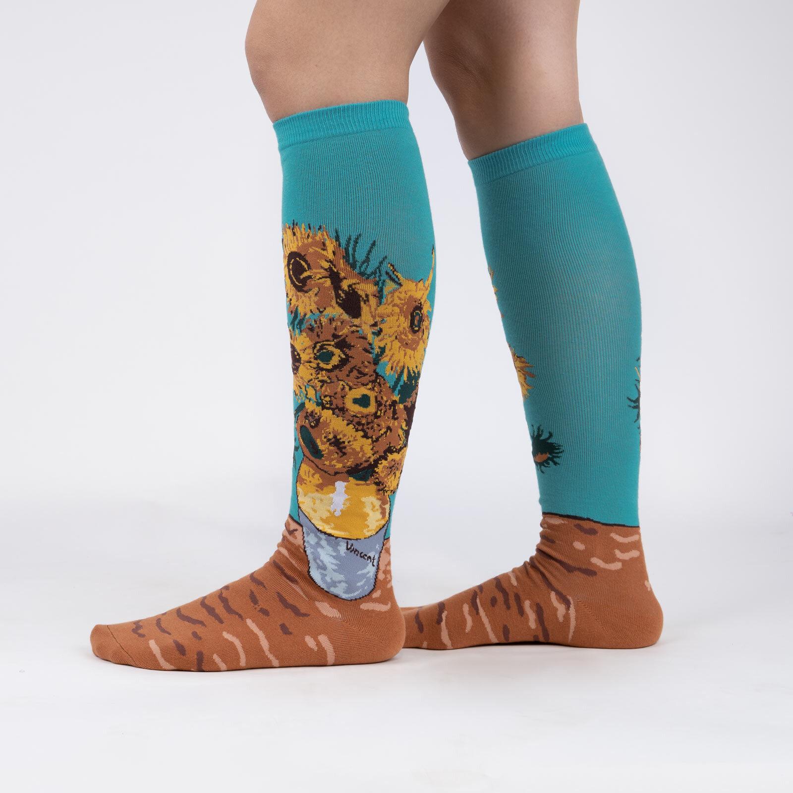 model wearing Sunflowers - Fine Art Van Gogh Knee High Socks Teal - Women's