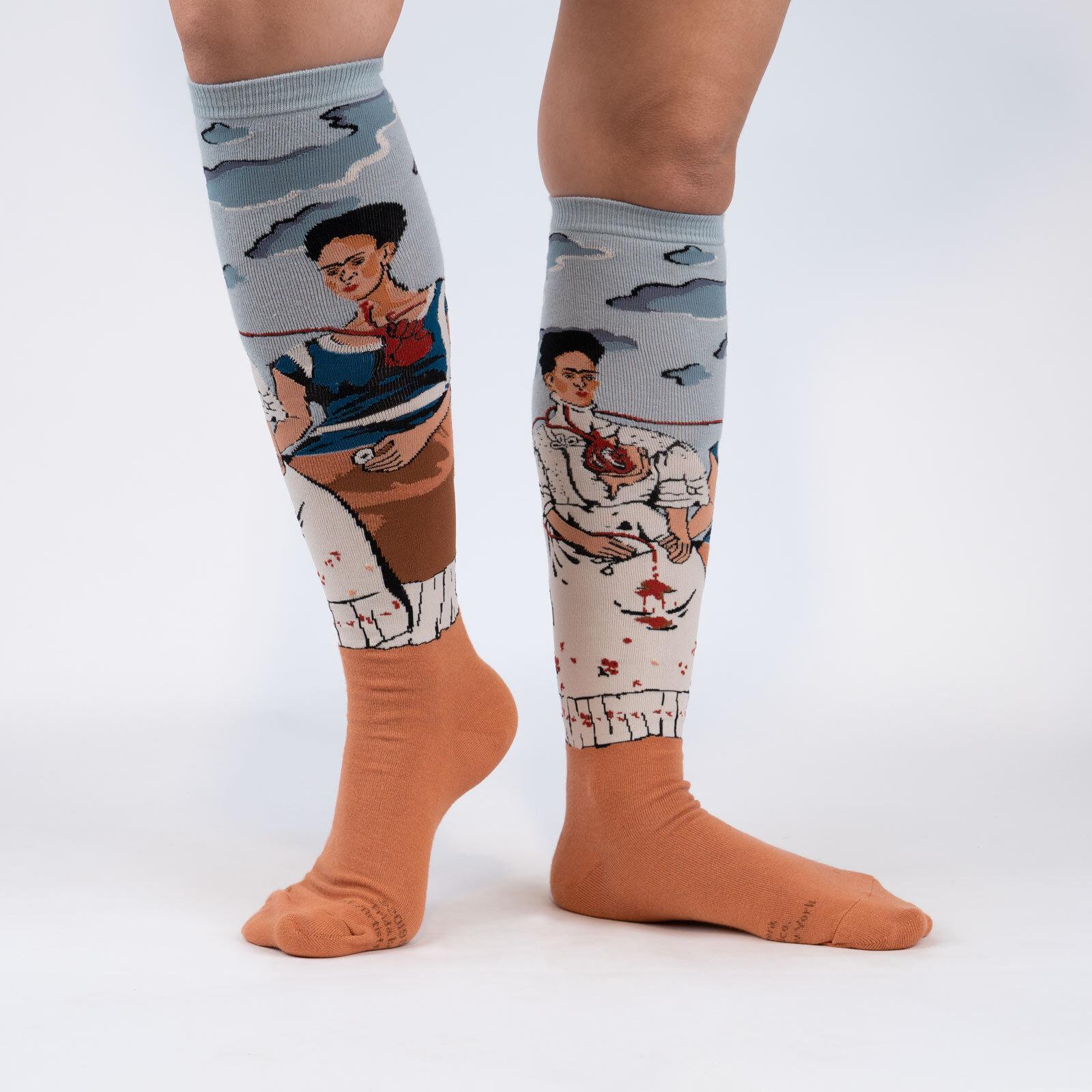 model wearing The Two Fridas - Fine Art Frida Kahlo Knee High Socks Grey - Women's