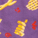 fabric detail of Everyday is Fry-Day - All the French Fries on Crew Socks Purple - Junior's