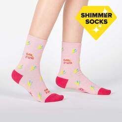 model wearing United We Shine - Sparkling Shimmer Girl Power Lightning Crew Socks Pink - Junior's