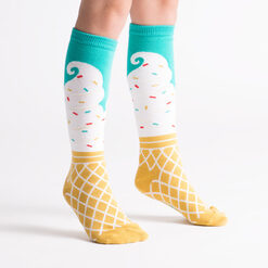model wearing Ice Cream Dream - Ice Cream Knee High Socks - Junior