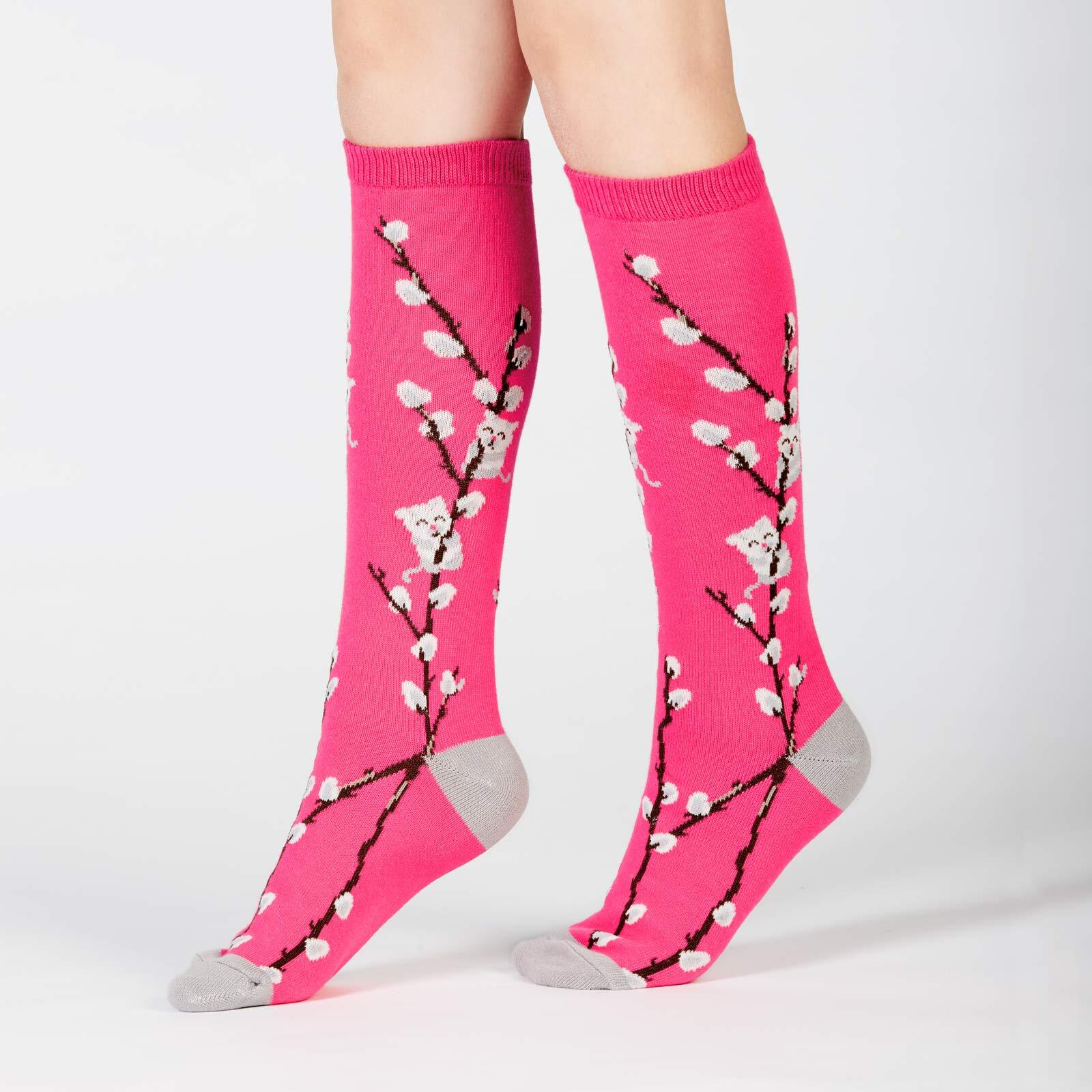 model side view of Kitty Willows - Cat Knee High Socks Pink - Junior