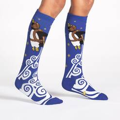 model wearing Penguin Taking Flight - Penguin Knee High Socks Blue - Junior