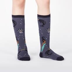 model wearing Deep Sea Queen - Mermaid and Sea Creatures Knee High Socks Grey - Junior's