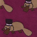 fabric detail of Plati-tude - Monocle and Top Hat Wearing Platypus Knee High Socks Purple - Junior's