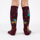 Beasts of Yore - Mythical Dragon and Griffin Knee High Socks Maroon - Junior in Maroon