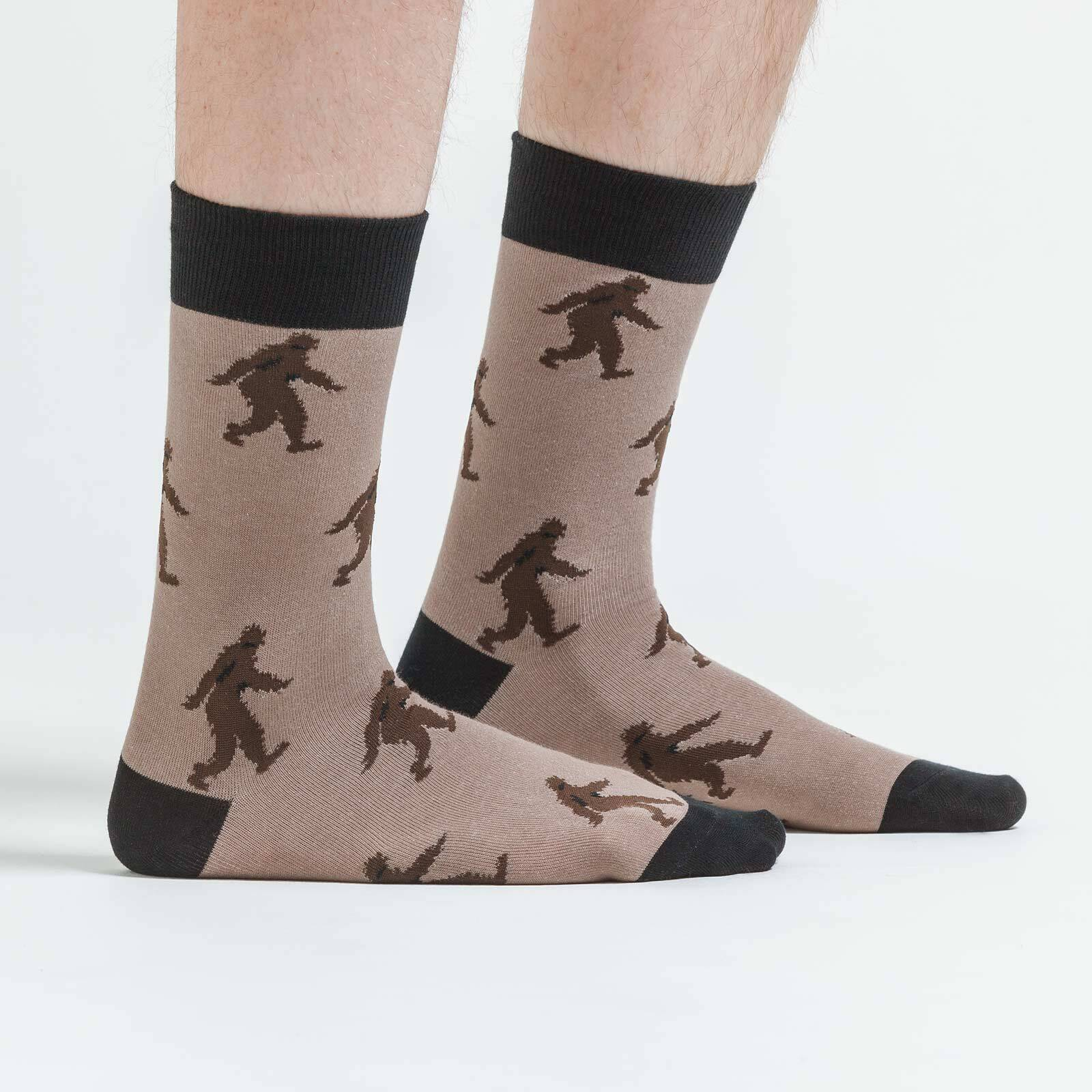 model side view of Sasquatch Crew Socks Brown and Black - Men's