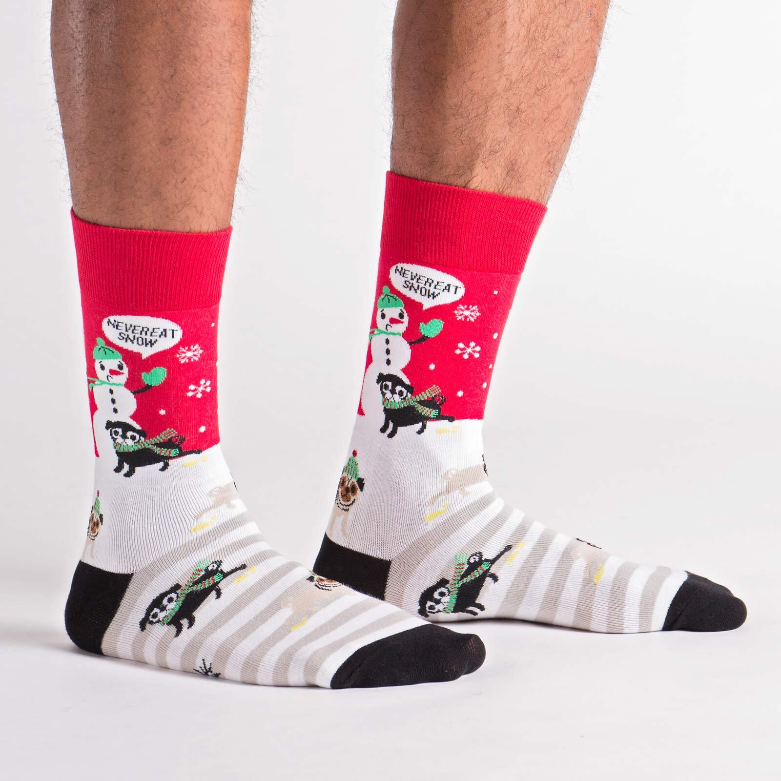 model side view of Never Eat Snow - Pugs Dogs Playing in the Snow Crew Socks White - Men's