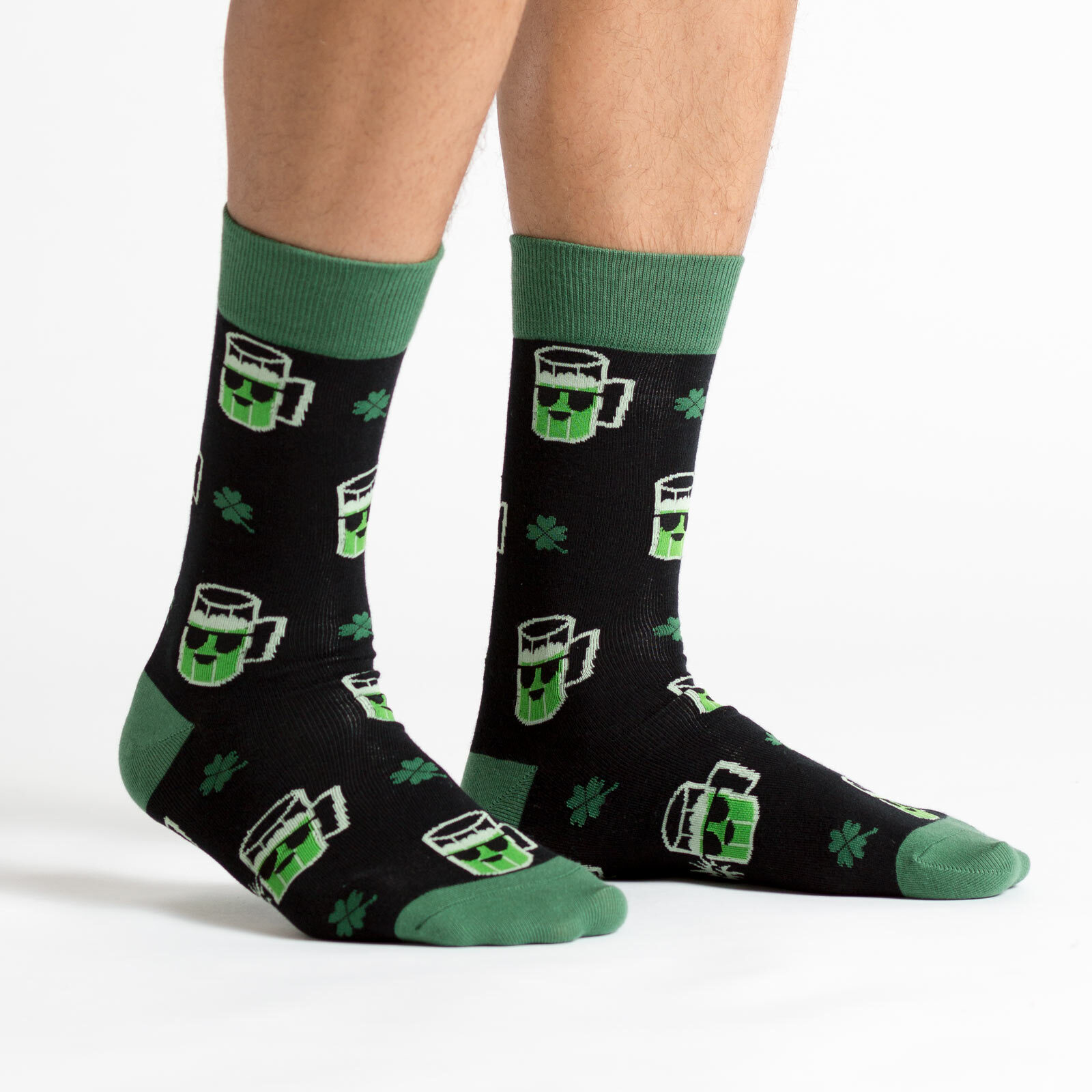 model side view of Lucky Beer - Beer Crew Socks Black and Green - Men's
